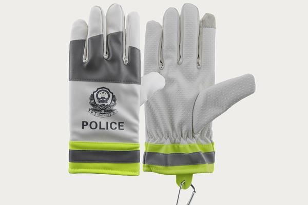 白拼皮反光棉手套